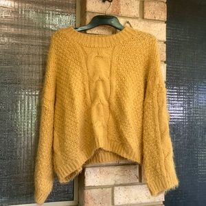 Yellow knit sweater. Sooo comfy and soft